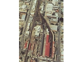 93 - South Brisbane station from the air with the interstate terminus before its relocation after the Merivale Bridge was completed in 1978