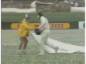 35 - Dean Jones brings out a helmet for a groundsman during a massive hail storm at the Gabba in the 1990's