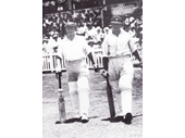 7 - The Don (223) and Stan McCabe go out to bat against the West Indies in 1931 at the Exhibition Ground
