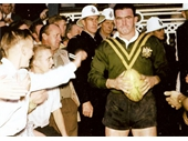 21 - Brian Davies leads out Australia in the test at the Exhibition Ground in 1958 against Great Britain