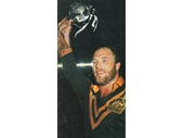 56 - 1985 Australia v New Zealand test - Wally Lewis holds up the Trans-Tasman trophy