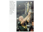 63 - Queensland's Darren Lockyer with the 2006 Tri-Nations trophy