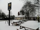 Woolhampton - Rowbarge in snow 1