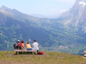 48 - Hikers resting above Grindelwald Valley