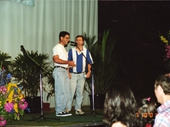 91 - 2001 Noosa Feast - Peter Burchard and I doing a comedy routine