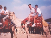 07 - A group of us camel riding near the Pyramids