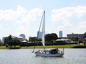 142 - Boat sailing past Merthyr Bowls Club