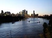 229 - Brisbane River and City lights from Kangaroo Point at sunset