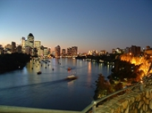 230 - Brisbane River and City lights from Kangaroo Point at sunset